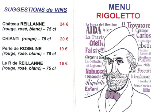 MENU RIGOLETTO AU SEA SIDE